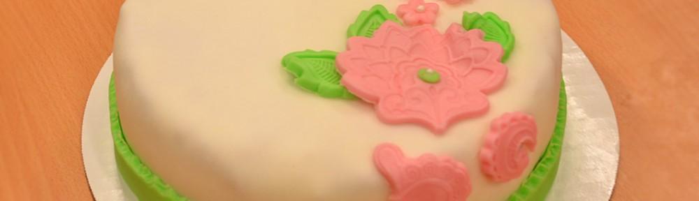Grön och rosa tårta