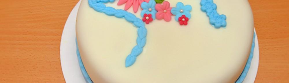 Blå och rosa festlig tårta