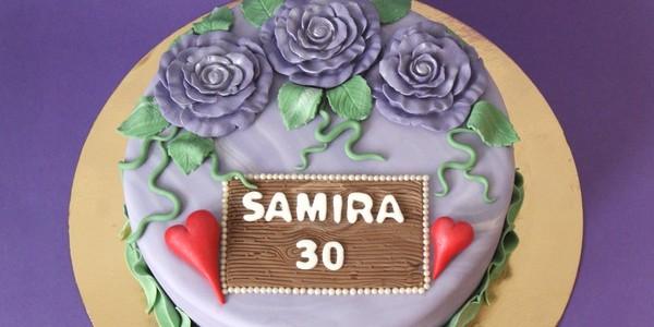 Lila 30-års tårta