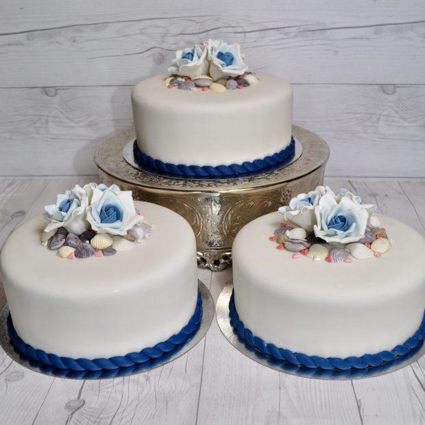 Bröllopstårta med havstema