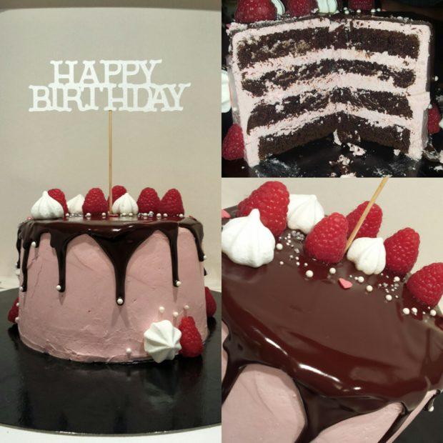 Chokladtårta med hallonmarängsmörkräm